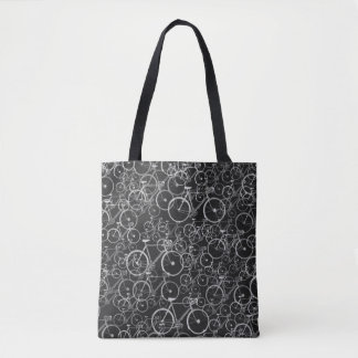 black bike-themed tote bag of bicycles
