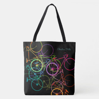 black biking tote bag with colorful bicycles