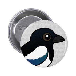 Black-billed Magpie 6 Cm Round Badge
