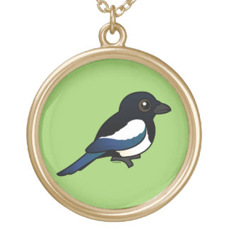 Black-billed Magpie Round Pendant Necklace