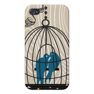 Black Bird Cage Any color Wood Grain iPhone Case Cases For iPhone 4