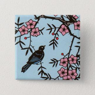 Black Bird Cherry Blossom Tree 15 Cm Square Badge