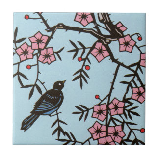 Black Bird Cherry Blossom Tree Tile