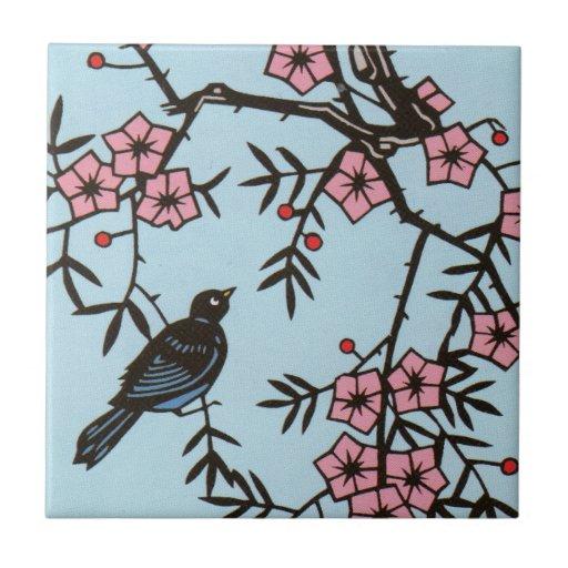 Black Bird Cherry Blossom Tree Tiles