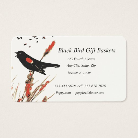 Black Bird Gift Baskets Custom Business Card