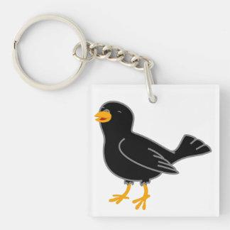 Black Bird Single-Sided Square Acrylic Keychain