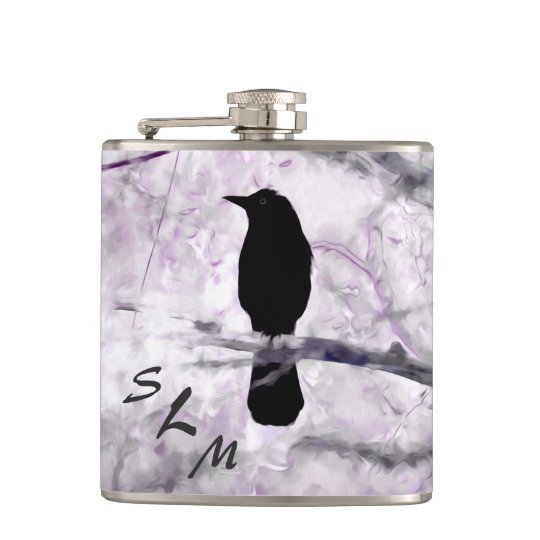Black Bird on Branch with Purple and Pink Flowers Hip Flask