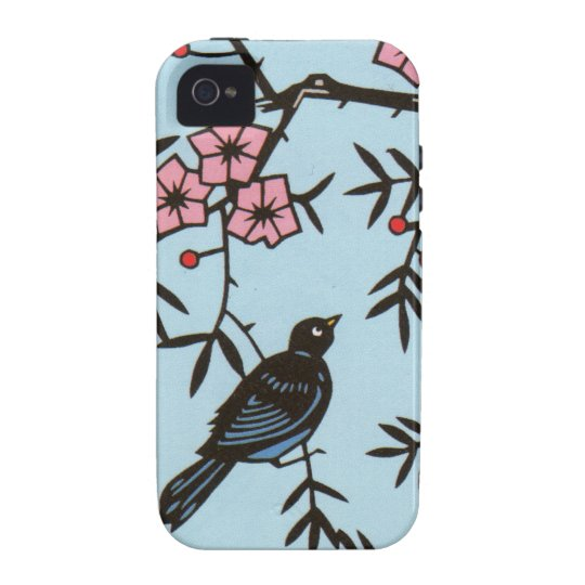 Black Bird Pink Cherry Blossom Tree Branches Case-Mate iPhone 4 Cover