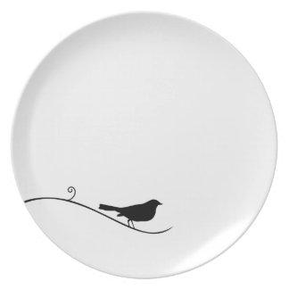 Black Bird Silhouette Black White Bird on Branch Party Plate
