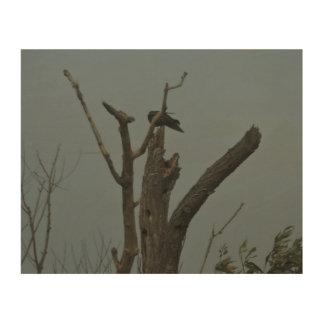 Black Bird Wood Canvas