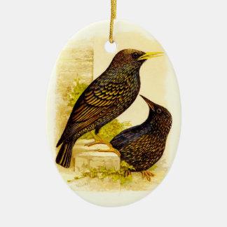 Black Birds Antique Pair of Birds Holiday Christmas Ornament