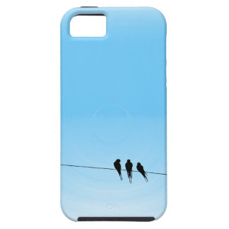Black Birds on a Wire Blue Tough iPhone 5 Case