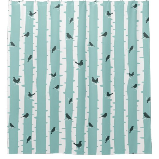 Black Birds on White Birch Trees Shower Curtain