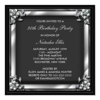 """Black Birthday Event Party Invitation Template 5.25"""" Square Invitation Card"""