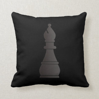 Black bishop chess piece cushion