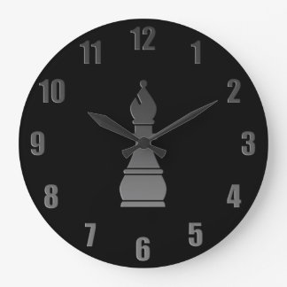 Black bishop chess piece large clock