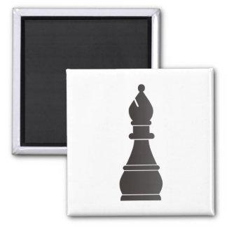 Black bishop chess piece magnet