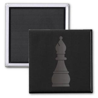 Black bishop chess piece square magnet
