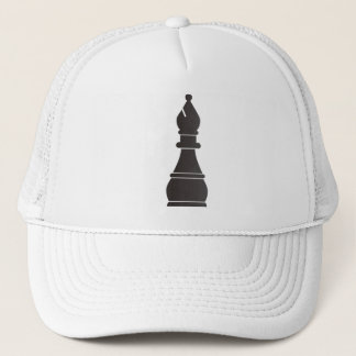 Black bishop chess piece trucker hat