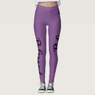 BLACK BLESSED SCRIPT LEGGINGS