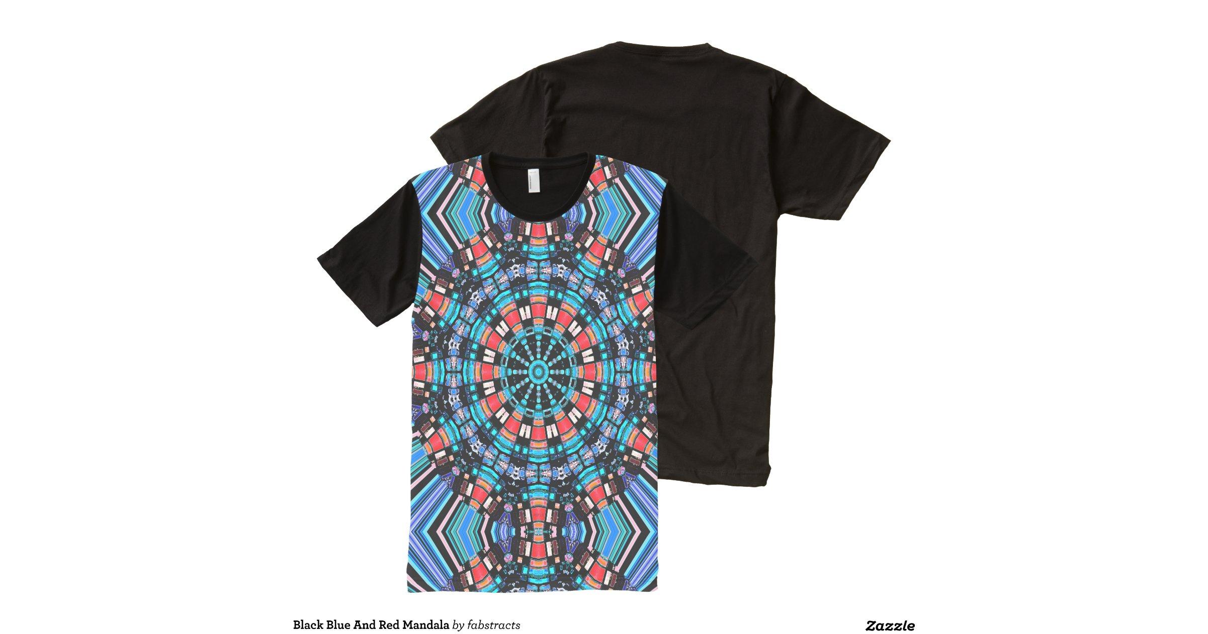 Black blue and red mandala all over print t shirt zazzle for Vista print tee shirt