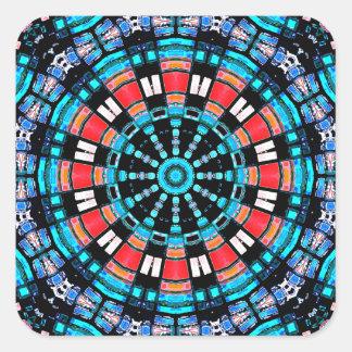 Black Blue And Red Mandala Square Sticker