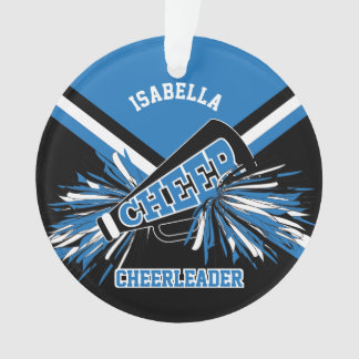 Black, Blue and White Cheerleader Ornament