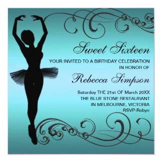 Black & Blue Ballerina Birthday Invitation
