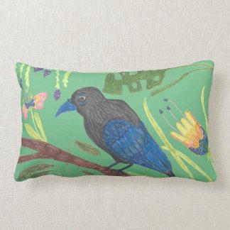 Black & Blue Bird of Paradise Lumbar Pillow