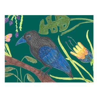 Black & Blue Bird OF Paradise Postcard