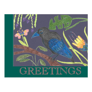 Black & Blue Bird of Paradise Postcard