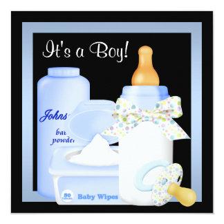 "Black Blue Bottle Pacifier Baby Boy Shower 5.25"" Square Invitation Card"
