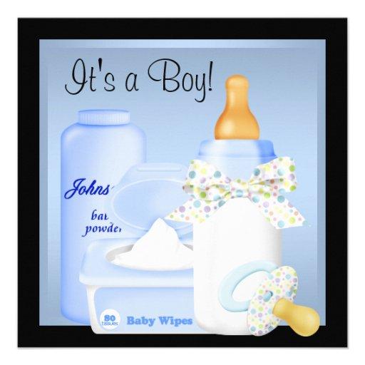 Black Blue Bottle Pacifier Baby Boy Shower Custom Invitations