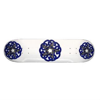 Black Blue Celtic Pentagram Skateboard