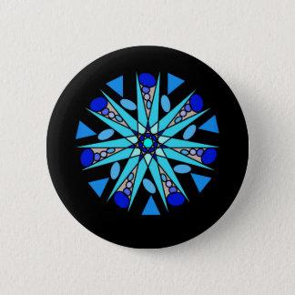 Black Blue Cosmic Geometric Star Button