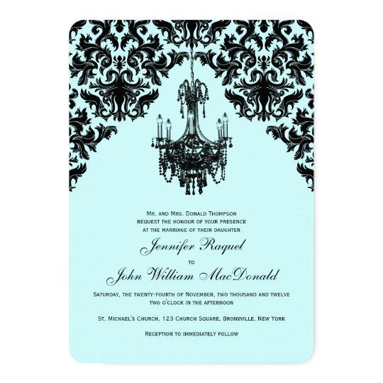 Black Blue Damask Chandelier Wedding Invitation