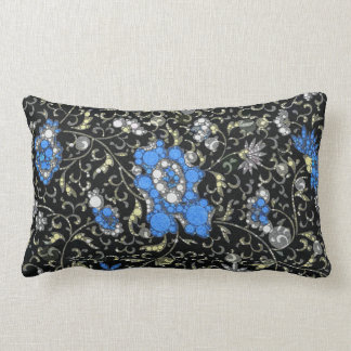 Black Blue Floral Abstract Cushions
