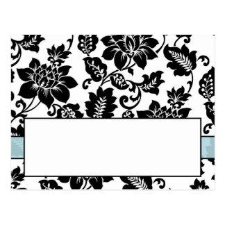 Black/Blue Floral Damask Wedding Place Card Postcard