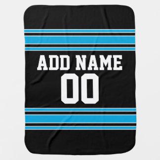 Black Blue Football Jersey Custom Name Number Baby Blanket