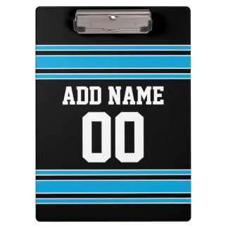 Black Blue Football Jersey Custom Name Number Clipboard