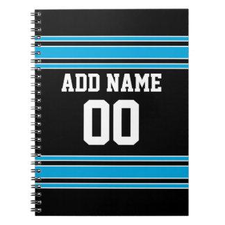 Black Blue Football Jersey Custom Name Number Spiral Notebook