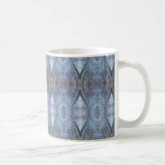 Black Blue Geometric Cross Diamonds Pattern Basic White Mug