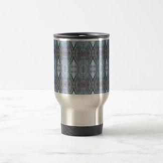 Black Blue Geometric Cross Diamonds Pattern Stainless Steel Travel Mug