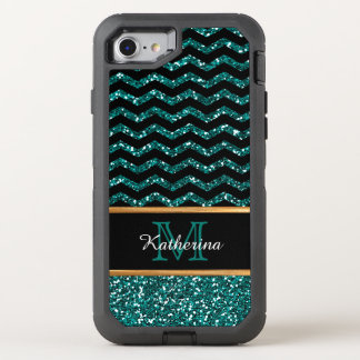 Black & Blue Glitter Chevron Personalized Defender OtterBox Defender iPhone 8/7 Case