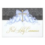 Black Blue Gold Cross Boys Blue First Communion Invite