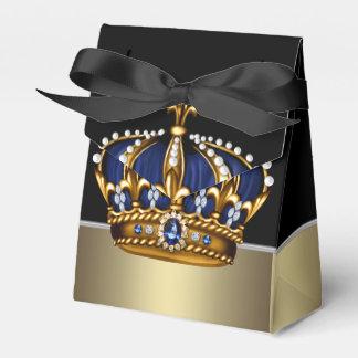 Black Blue Gold Crown Prince Baby Shower Favour Box