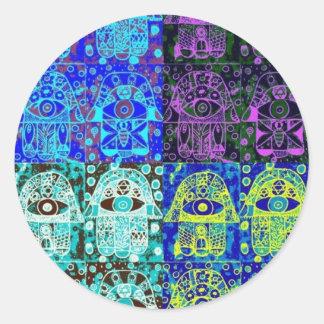 Black & Blue Hamsa Classic Round Sticker