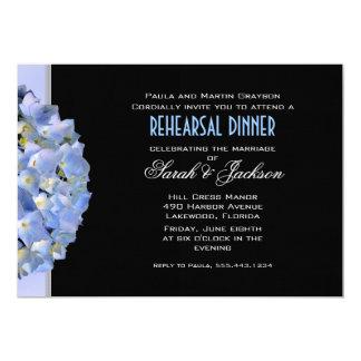 Black & Blue Hydrangea Rehearsal Dinner Invite