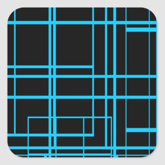 Black &  Blue Laser Design Square Sticker