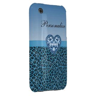Black & Blue Leopard Print & Bling Heart iPhone 3 Case